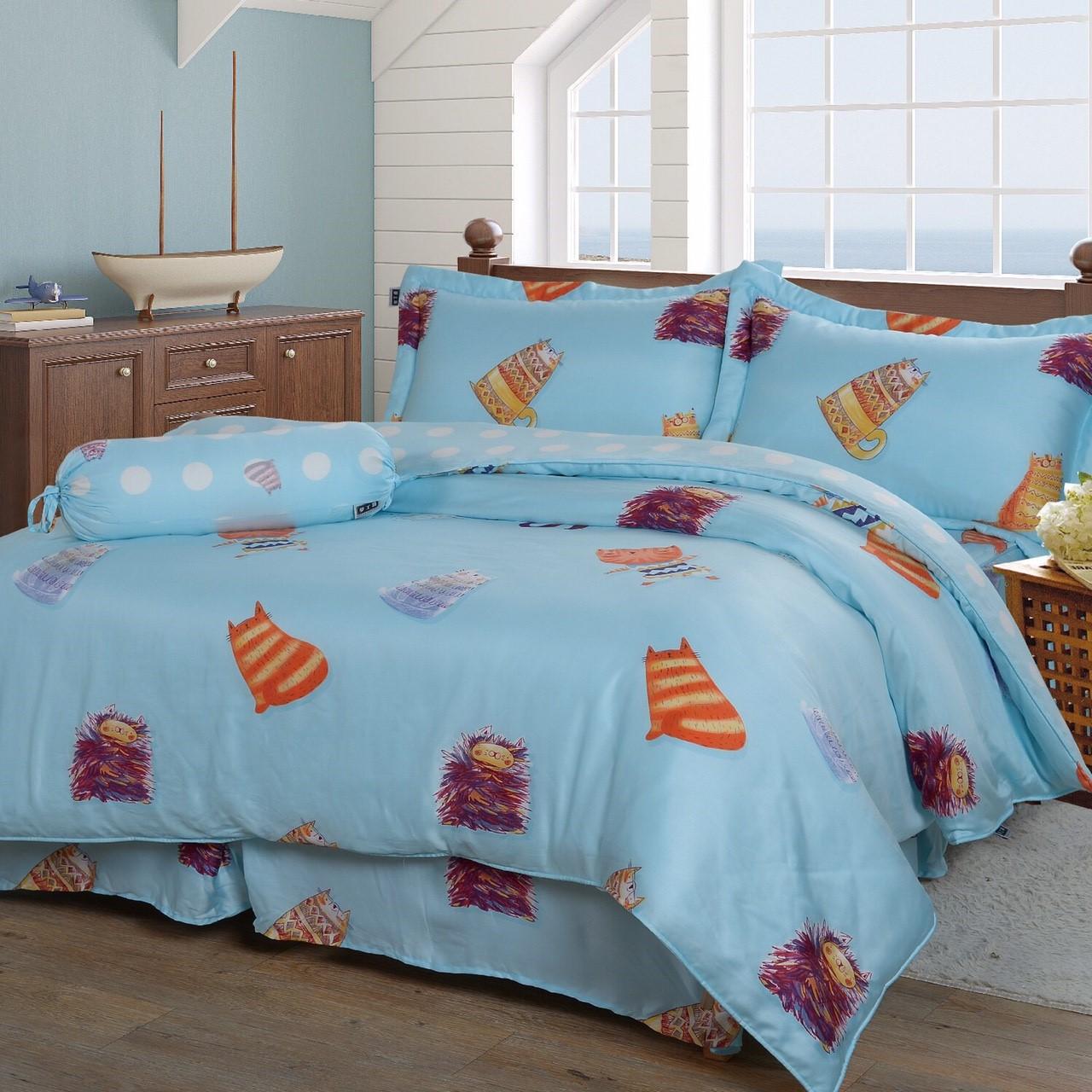 【特惠純天然】小貓5件式天絲鋪棉床罩組