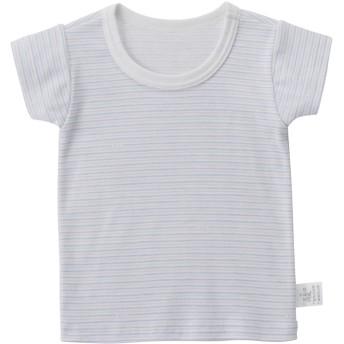 ミキハウス ボーダー&イカリ&車 半袖Tシャツ【肌着】 ブルー