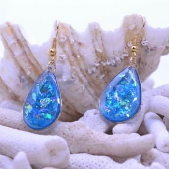 海からの贈り物 ブルーのしずく/ピアス・レジン
