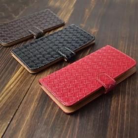 【送料無料】ほぼ全機種製作可能 編み込みメッシュレザー調 スマホケース iPhone8 Xperia XZ