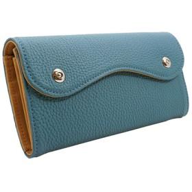 ドイツシュリンク カブセ型 長財布 2つ釦(ボタン)と曲線が 可愛い 本革 レディース 財布 ジーンブルー