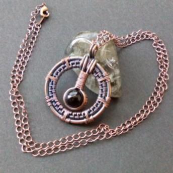 アンティーク調・天然石ペンダント(オニキス) 「環001」
