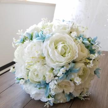 misuzuサムシングブルーのブーケ&ブトニアのセット☆ウエディングブーケ 海外ウエディング ガーデン