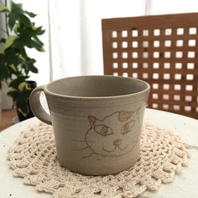 手作り陶器 マグカップ中ネコイラスト 通販 Lineポイント最大10get