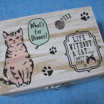 木製ジュエリーボックス 猫たち 毛糸球