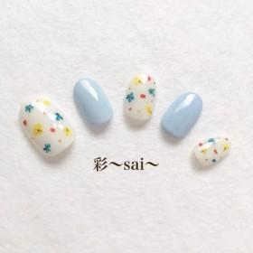 ブルー☆キュートな押し花ネイル☆フラワー☆花