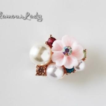 2個セット 2217mm ピンク花とパールの デコレーションパーツ