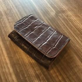 【SALE 7/2まで】本革 カードケース 名刺入れ クロコ型押し