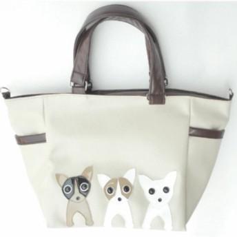 【送料無料】犬柄トート 3匹シリーズ チワワ お散歩バッグ