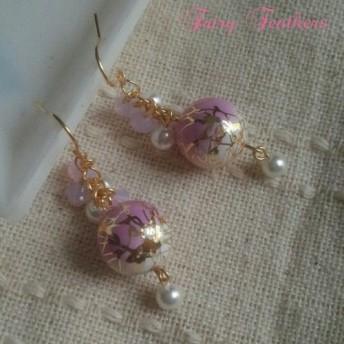唐草ビーズピアス 薄紫×G