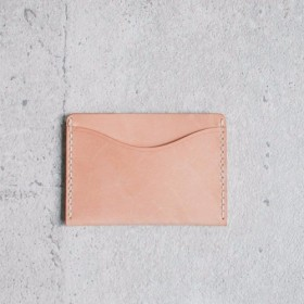 Nude color leather card holder