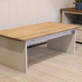 ホワイトシャビーな折りたたみローテーブル90