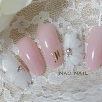 ピンク×フラワーネイル