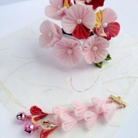 梅雨を楽しむ 和柄とピンクの紫陽花 ヘアクリップ