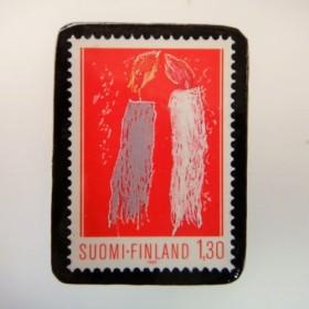 フィンランド クリスマス切手ブローチ 3153