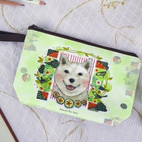 ファム健康柴犬幸せな夏のクラッチ/保存袋/化粧バッグ/犬/イラストレーター/手縫い