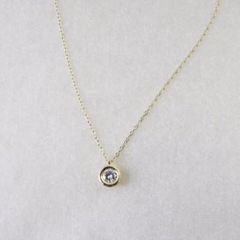 K18一粒ダイヤモンドネックレス