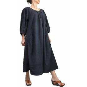 ジョムトン手織り綿の袖タック入りドレス 墨黒(DFS-056-01)