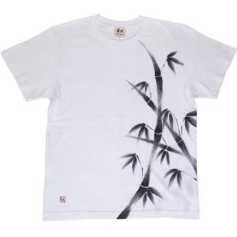メンズ 竹柄Tシャツ 手描きで描いた竹の和柄Tシャツ