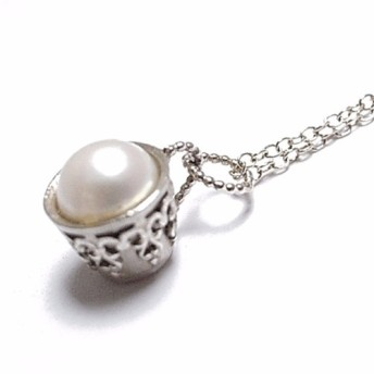 silver teacup necklace pearl
