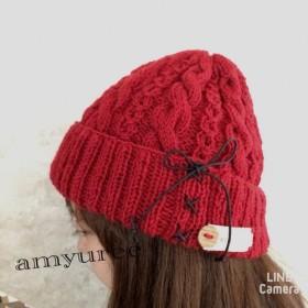 編み上げリボン♪秋冬ニット帽子2