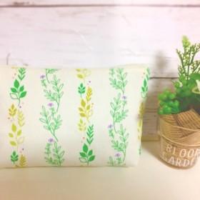 【送料無料】お花と緑のポーチ