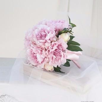 【SALE】【ブートニア付き】芍薬のラウンドブーケ アーティフィシャルフラワー 造花