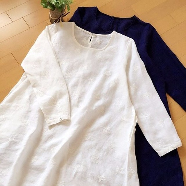 ★夏セール★お花刺繍リネン、ポケット付Aラインシンプルな長袖チュニック