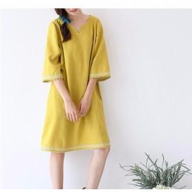 【S】リネン100%刺繍入りゆったり五分袖ワンピース♪