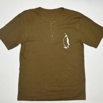 ペンギンメンズTシャツ綿100% ヘンリーネックTシャツ カーキ