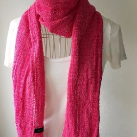 【綿:オールシーズン】手織りストール Pink & Pink Mix