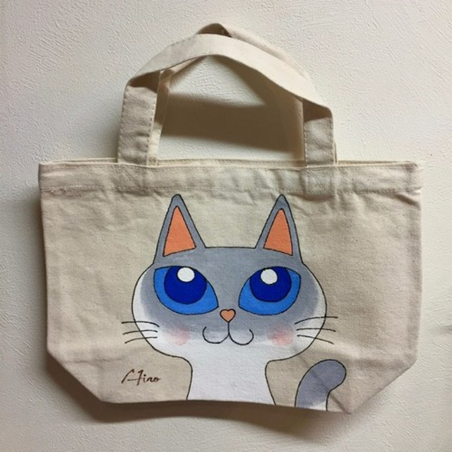 手描きシャム猫トートバッグ