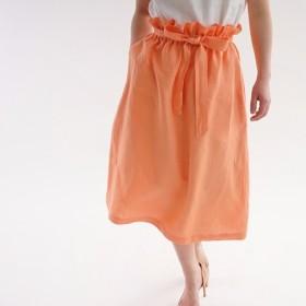 中厚 リネン スカート ダブルループ 紐あり スカート / カピュシーヌ s010a-cpn2