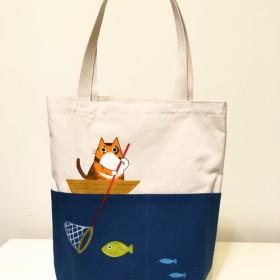 【受注製作】魚を釣るにゃん‧阿喵ショッピングバッグ