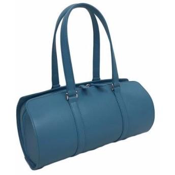 オール牛革 本革バッグ 筒型 ボストンバッグ 軽量 リアル シュリンクレザー ライトブルー
