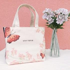 [名前]カスタムの蝶/キャンバス印刷/手作りバッグ - ギフトトートバッグ