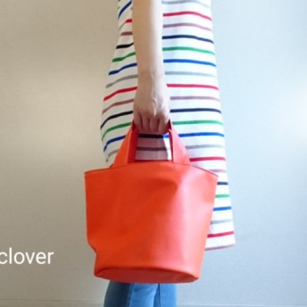 Synthetic leather totebag -orange-