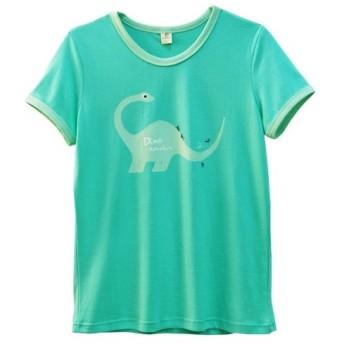 親子でお揃い【恐竜】グリーン・Tシャツ - ママ (size M、L)