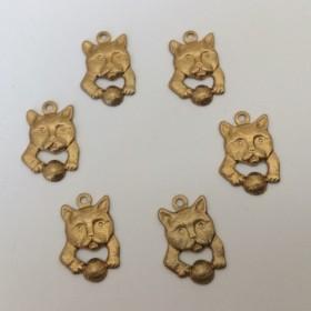 4pcs 真鍮製 猫顔チャーム 玉あそび