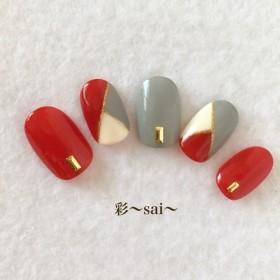 定番☆ブロッキングネイル/赤/シンプルネイル