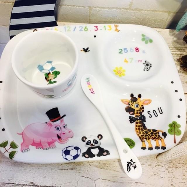 出産祝いに大人気! アニマルランチプレート 小鉢、スプーン付き 離乳食にも喜ばれます!