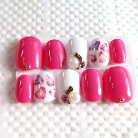 ジェルネイル 宝石 濃いめピンク Rady ネイルチップ 付け爪