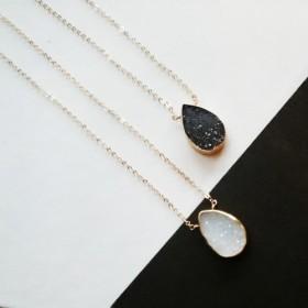 送料無料14kgf monotone Druzy quartz necklace