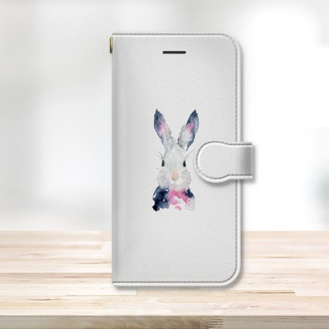 ★うさぎ 水彩デザイン スマフォケース 手帳型1 動物 白
