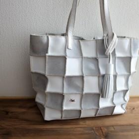 【送料無料】本革 手縫いPatchwork tote L (white)