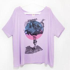 女性モーダルクール感が寄付する旅行T /ブラウス/ Tシャツ/ Tシャツデザイン/プリントコートのエレガント感を緩和 - ロンリ