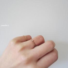 極細1mm【knit ring】アーモンド&ゴールドフィルド