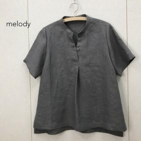 フレンチ リネン 麻 変形 スタンドカラー シャツ
