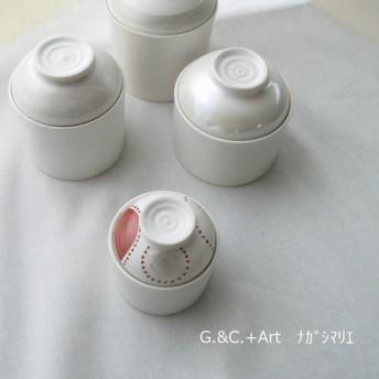 キャニスター*蓋物*1個*銀彩&赤絵*赤丸*AG7