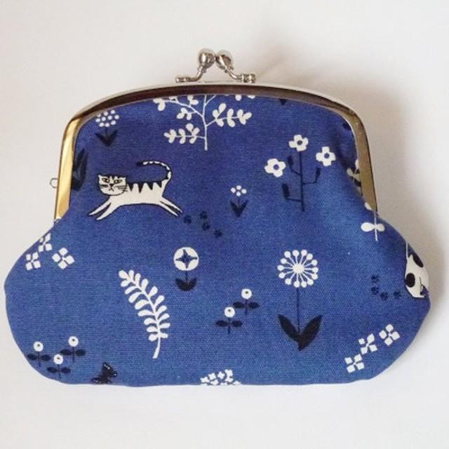 【受注製作】お花畑ではしゃぐ猫たち 親子がま口 財布